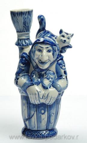 """Штоф """"Баба-Яга"""", арт. 8146818 — 2900 руб.: http://www.lavka-podarkov.ru/catalog/gzhel/stofy/3985/"""
